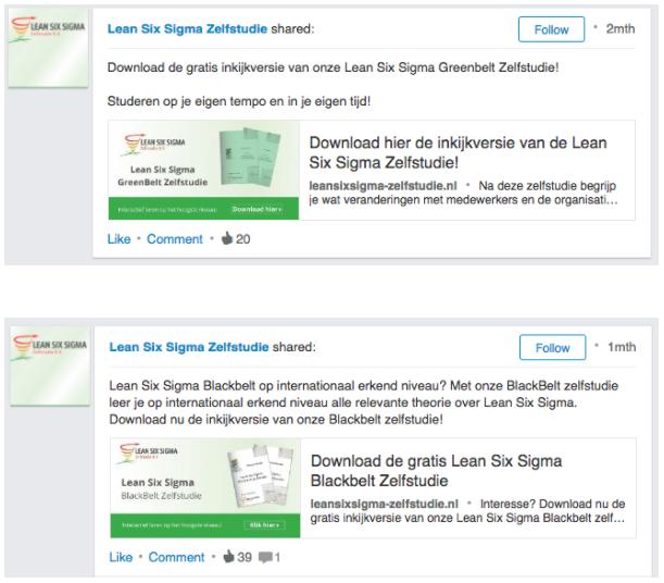 Voorbeeld linkedin advertenties Lean Six Sigma