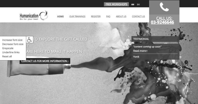 Humanication website in grijsschaal