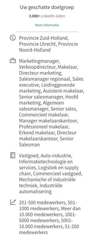 Linkedin doelgroep marketingautomationtips.nl