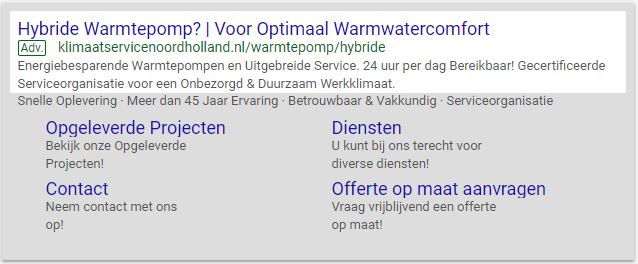 Klimaatservice Noordholland advertentie Google Adwords
