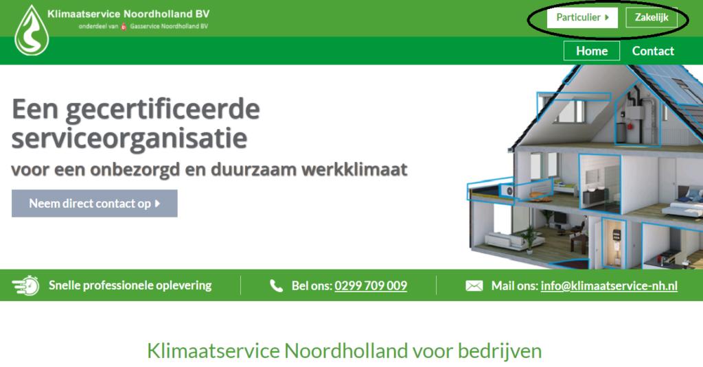 Klimaatservice noordholland website scheiding particulier en zakelijk