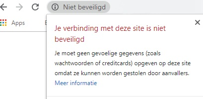 Melding niet beveiligde website zonder SSL certificaat