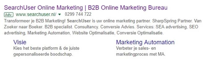 SearchUser advertentie - online adverteren voor B2B organisaties