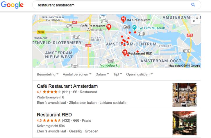 Zoekwoord ranglijsten - restaurants in Amsterdam
