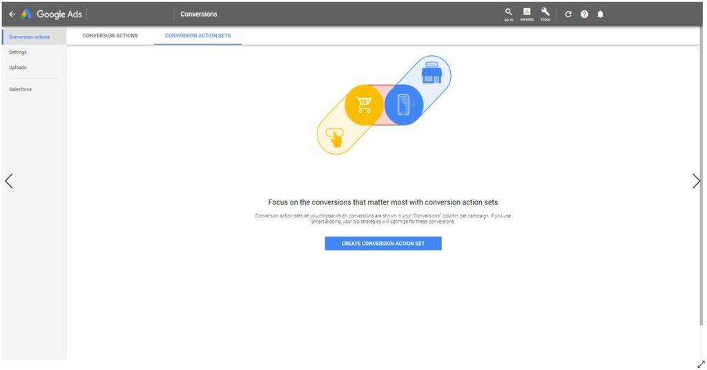 Google ads conversion action sets