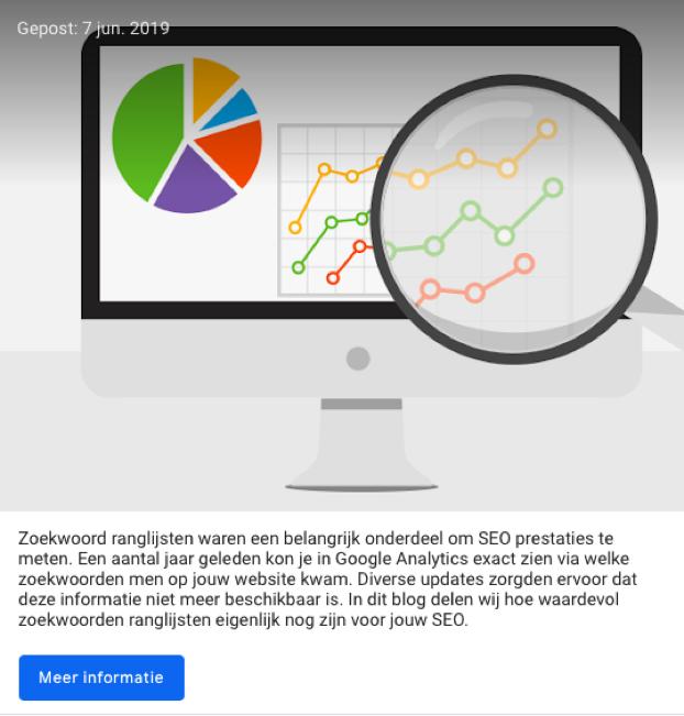 Google post in Google 'Mijn bedrijf'