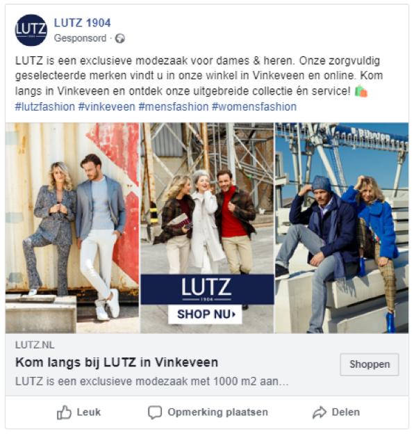 Voorbeeld Facebook advertentie branding