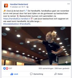 Nederlands handbal verbond case - voorbeeld social media post