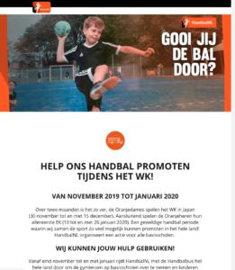Handbal mail naar verenigingen