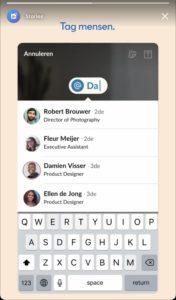 LinkedIn story mensen taggen